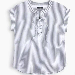 J Crew Striped Lace Up Popover Blouse I35